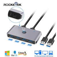 Rocketek USB KVM Switch Box 4 Port USB 3.0 For Keyboard Mouse Printer Monitor