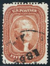 27, Used 5¢ F/VF RARE Brick Red Color Cat $1,450.00 - Stuart Katz