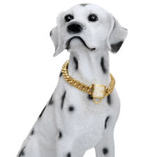 Luxury Teddy Dog Collar Solid Stainless Steel Poodle Collar Cuban Miami Chain