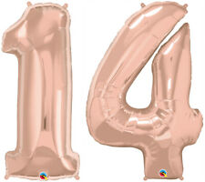 """14th BIRTHDAY BALLOON 34"""" ROSE GOLD 14th BIRTHDAY PARTY SUPPLIES NUMBER BALLOONS"""