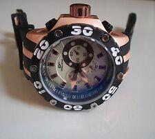Men's Designer Heavy Black/Rose Gold Finish Rubber Band Fashion Inspired Watch