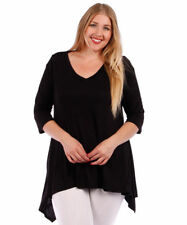 Womens BLACK Plus Size 4X Tunic Top Asymmetrical WearOrGoBare