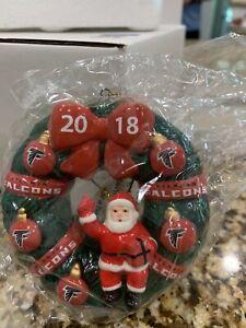 Atlanta Falcons NFL 2018 Wreath Santa Christmas Ornament SC Football NIB