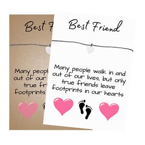 Best Friend Verse Card Wish Bracelet with Heart Charm & envelope - Friendship