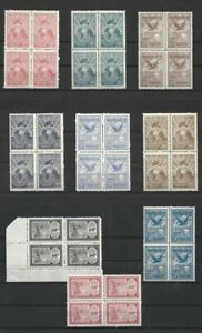 Argentina 1928 Airmail, 9 values in Blocks of Four MNH ** Very rare in blocks **
