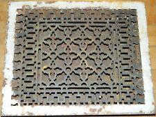 "Porcelain Trimmed 13 5/8"" x 16 3/4"" Victorian Cast Iron Register Floor Grate"