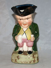 Antique Staffordshire Pottery Figural Toby Jug Mug Hunched Gentleman Man Seated