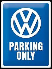PLAQUE EN METAL EMAILLEE NEUVE 30 X 40 cm : VW VOLKSWAGEN PARKING ONLY