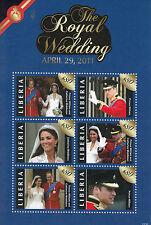 Liberia 2011 MNH Royal Wedding 6v M/S I Prince William Kate Middleton Catherine
