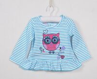 NEW Nannette Girls Toddler Owl Long Sleeve Bling Top with Frill Size 18 months