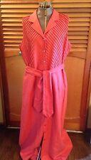 DUE' PER DUE' 100% LINEN Lined Dress Pleats Belt Orange Pumpkin Size 14