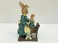 """Unbranded MS BUNNY & BABY BUNNY ON CHAIR Resin 5"""" Tall Blue Dress Easter"""