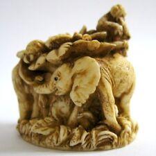 MPS Harmony Kingdom: QTs - Small Elephants & Apes Figurine - Inspired by Netsuke