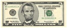 "1999 $5 ""FANCY BINARY NOTE"", BA11001011A, F.R.N., ""CRISP-CHOICE UNCIRCULATED"""