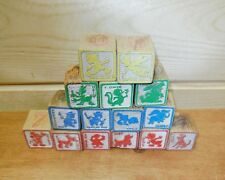 Vintage toy Wood Wooden Alphabet Blocks Disney  ABC's pictures 123's  15 Blocks