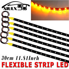6X 30CM 15SMD High Power Waterproof Car Motor Flexible LED Light Strip Yellow US