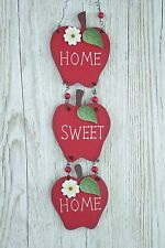 Wall Plaque Home Sweet Home Red Apples Ideal Kitchen Wooden Sign 39cm  F0559B