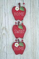 PIASTRA a Parete Home Sweet Home cucina MELE ROSSE ideale segno in legno 39cm F0559b