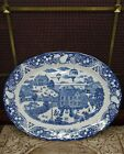 """Sanyei 18"""" x 14"""" Ceramic Oval Platter Balloons Over Town  Blue Willow Ware Japan"""