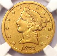 1877-CC Liberty Gold Half Eagle $5 Coin - NGC VF Details - Rare Carson City!