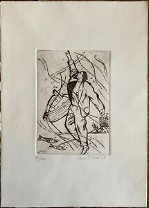 Claudio Tesser incisione acquaforte Figura in Mare 35x25 firmata numerata  '91
