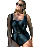 $99 NWT Black Square Neck Sz 24 Swimsuit Gold Accent Swimsuits for all 1533