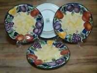 """4 - TABLETOPS UNLIMITED - AMELIA 10 1/2"""" HAND PAINTED SCANDICCI DINNER PLATES"""