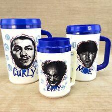 Three 3 Stooges Set Moe Larry Curly Aladdin Insulated Travel Cup Mug Clark 1993