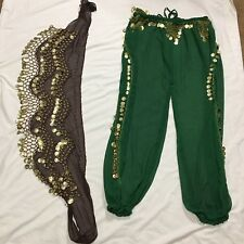 Belly Dancing Pants Hip Skirt Coins Sheer Sexy Dance
