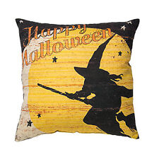 Happy Halloween Witch Throw Pillow Broom Moon Classic Home Vintage Style Decor