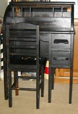 VINTAGE WOODEN BLACK ROLL TOP CHILD'S DESK AND CHAIR
