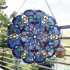 20  x 20  Blue Floral Round Tiffany Style Stained Glass Window Panel