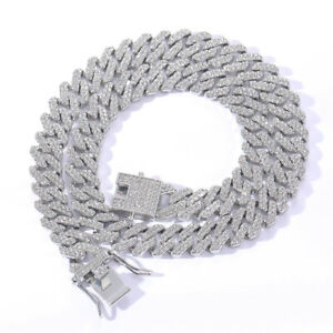 Mens Hip Hop Necklaces 12mm Cuban Chains Bling CZ 18K Gold Silver Plated Jewelry