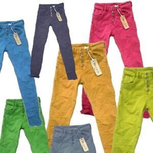 Melly Co Damen Jeans S-M-L-XL- lange Hose blau-grün-gelb-pink Italy Knopf Leiste