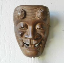 Antique Japanese Carved Wooden Noh Wall-Hanging Mask Okina 翁面 Old Man