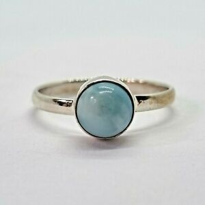 Brand New Sterling Silver 925 Blue Larimar (Round) Ring, Size L