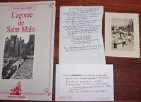 P. Aubry L'AGONIE DE SAINT-MALO bombardements + 1 photo ancienne reconstruction