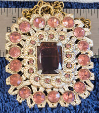 Vintage Choker Necklace w/ Gold-tone Amethyst Rhinestone Pendant - Free Shipping
