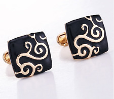 New High Quality Retro Fashion Square Metal Copper Men Enamel Cufflinks