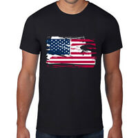 Mens American Flag Athletic T-Shirt Build Tactical Tee USA Top Patriotic Black M