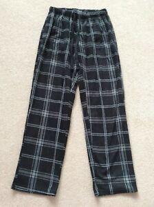 Mens Size M Black Mix Checked Regular Length Fleece Lounge Pants