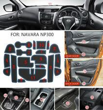 Blue Non-slip Inner Gate Slot Mat Cup Pads fit Nissan Navara NP300 D23 2015-2017