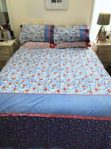 BELMONDO red blue GINGHAM FLORAL BEACHY COUNTRY QUEEN DOONA COVER pillow cotton