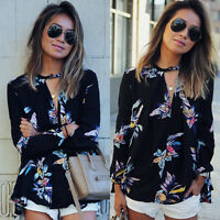 Women Ladies Long Sleeve T Shirts Blouse Top New Casual Loose Tee Tops Size 6-14