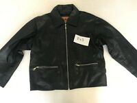 """B.A.D Vintage Motorcycle Jacket Real Leather Black S Armpit 21"""" Lgth 22"""" (843)"""