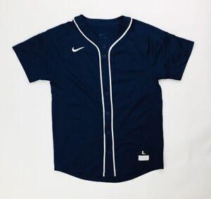 Nike Vapor Dinger Full Button Baseball Jersey Boy's Small 818544 Navy