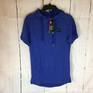 Under Armour Sweatshirt Hoodie Mens Small Fitted Short Sleeve Cotton Poly Blue