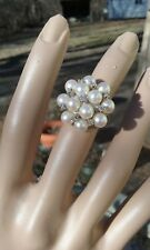Vintage 14K White Gold Pearl and Diamond Cocktail Ring, Approx. Size 7