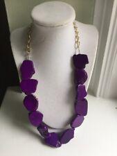 NWOT Purple Natural Stone Slab Statement Necklace