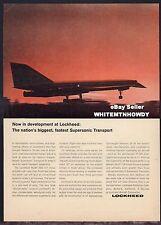 1964 LOCKHEED 2000 Supersonic Transport Jet Aircraft Vintage Aviation AD